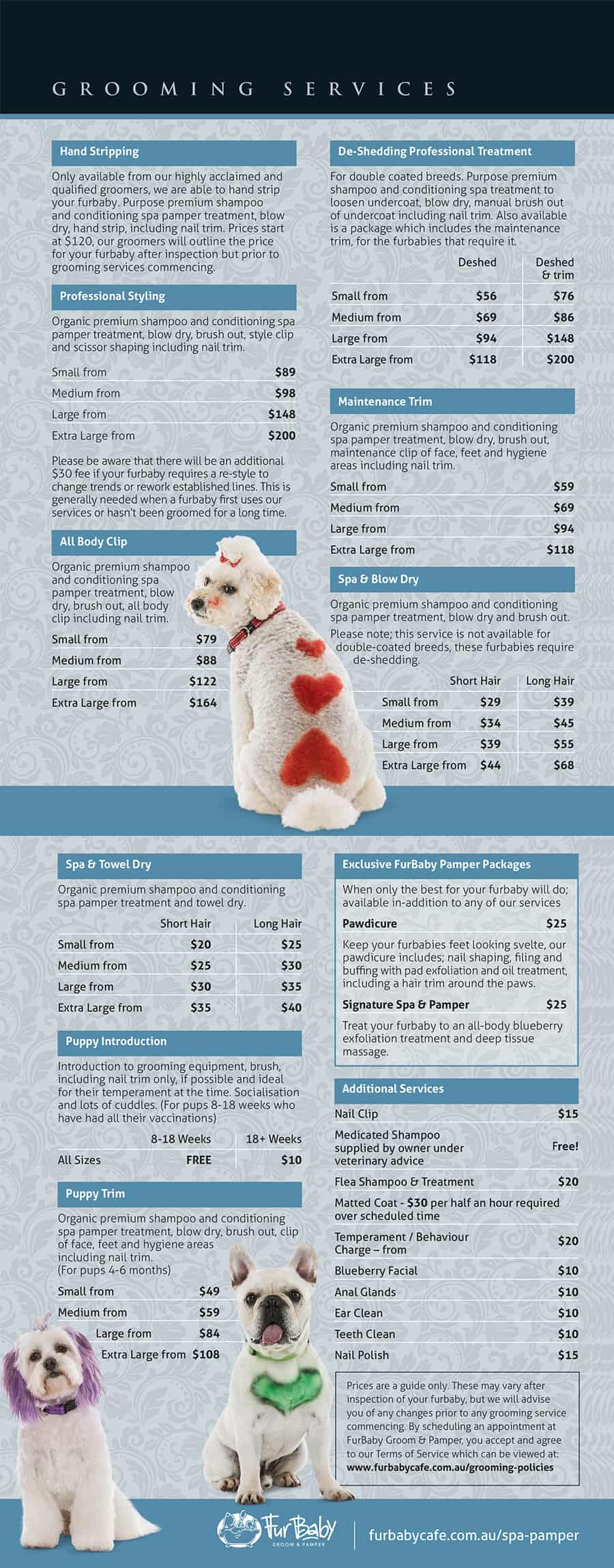 FurBaby Grooming Prices 2018