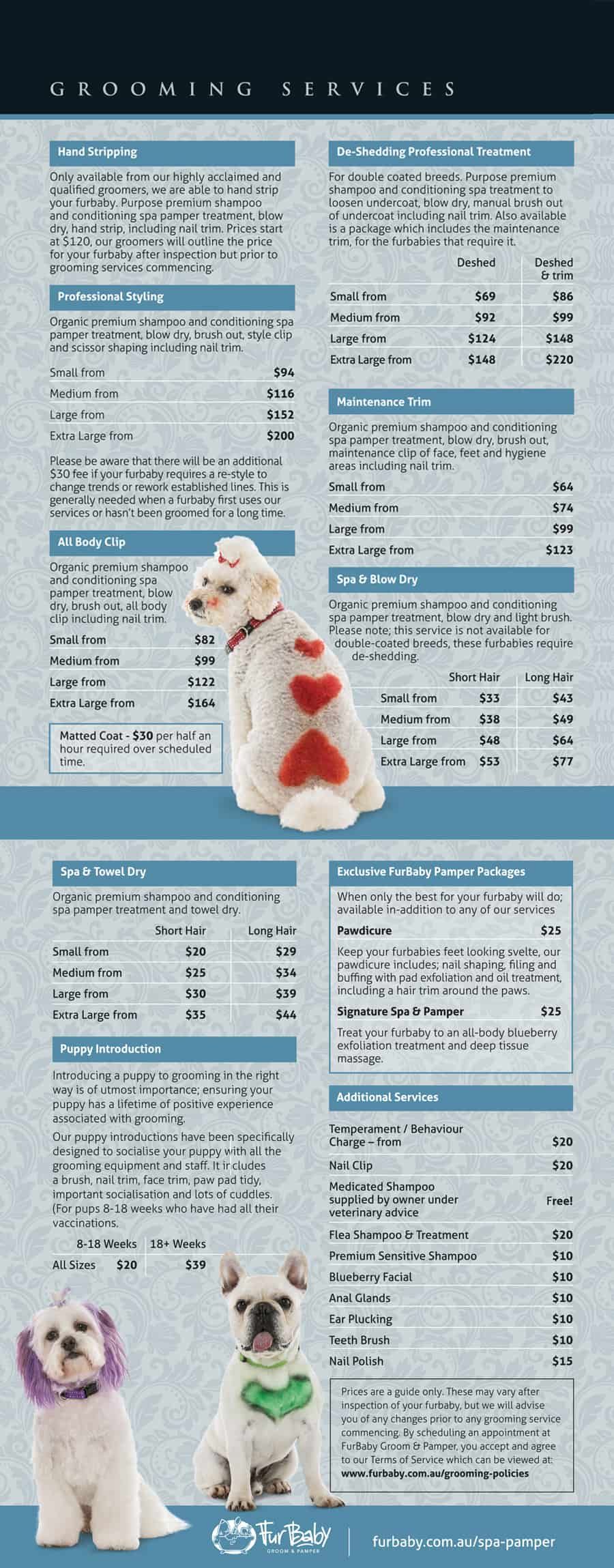FurBaby Dog Grooming Prices 2019 Doggy Grooming Pamper Spa Westminster Best Groomers in Perth Yokine Balcatta Osborne Park